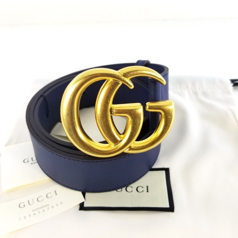 eBay  Sponsored Authentic Blue Leather Gucci Belt w Double G Buckle Gold Size  95 - 38 Nobox c5be626c6a8