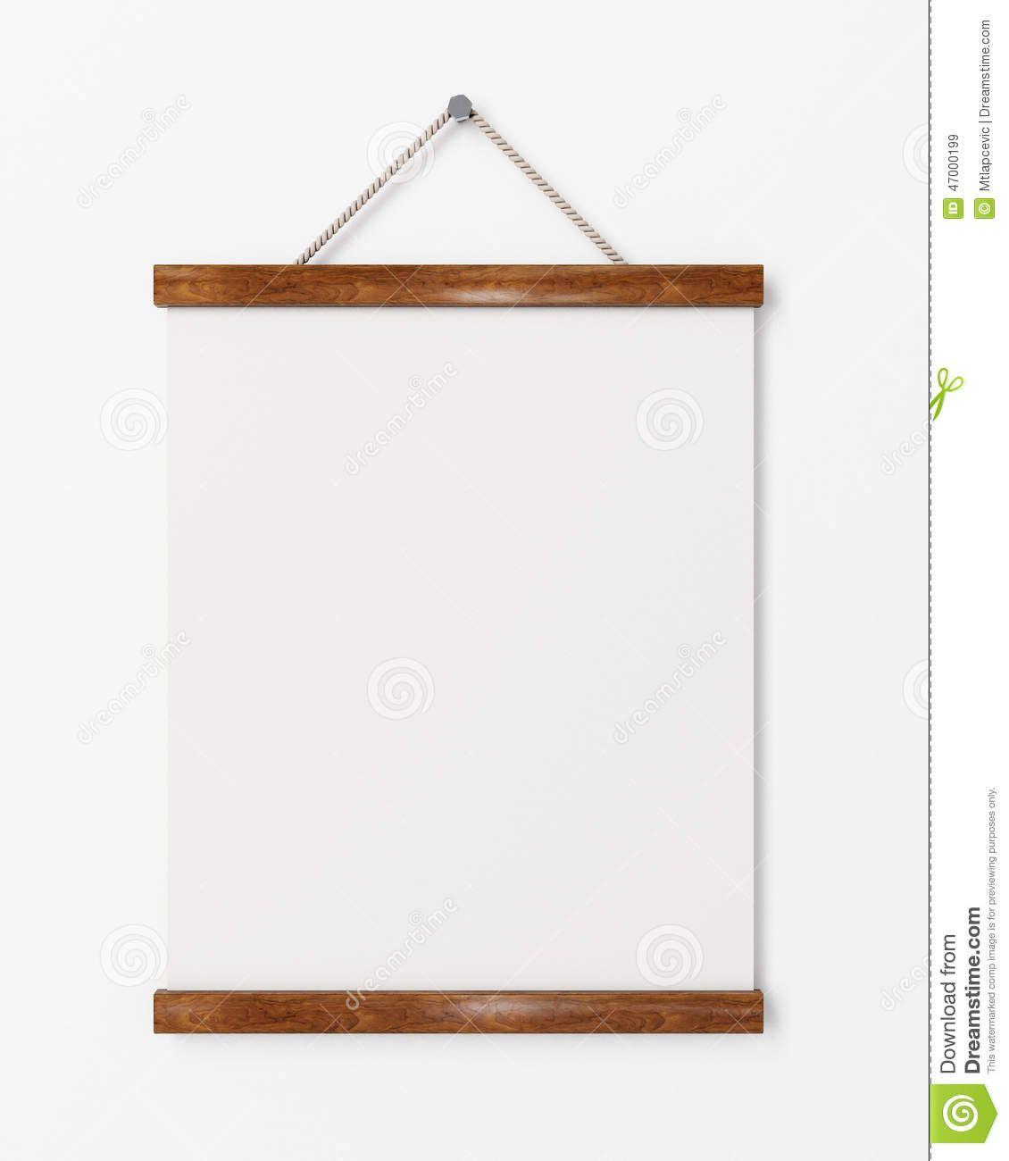 Mock Up Blank Poster With Wooden Frame Hanging On The White Wall ...