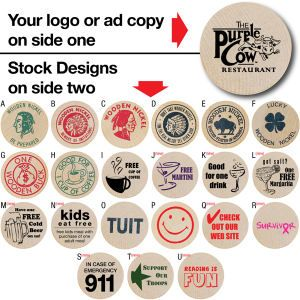 "With ample imprinting space, the Wooden Nickel makes a great coupon for restaurants, breweries, fundraisers and more! This innovative marketing tool measures 1 1/2"" in diameter and is available in a wide variety of colors. Use your logo or ad copy on side one. Complete your promotion with another design on side two."