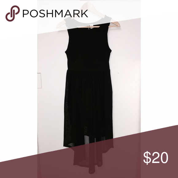 H&M black high low dress Price is firm. No trades. H&M black high low dress in a mesh material. Worn 2x - like new condition. Size 6/small H&M Dresses High Low