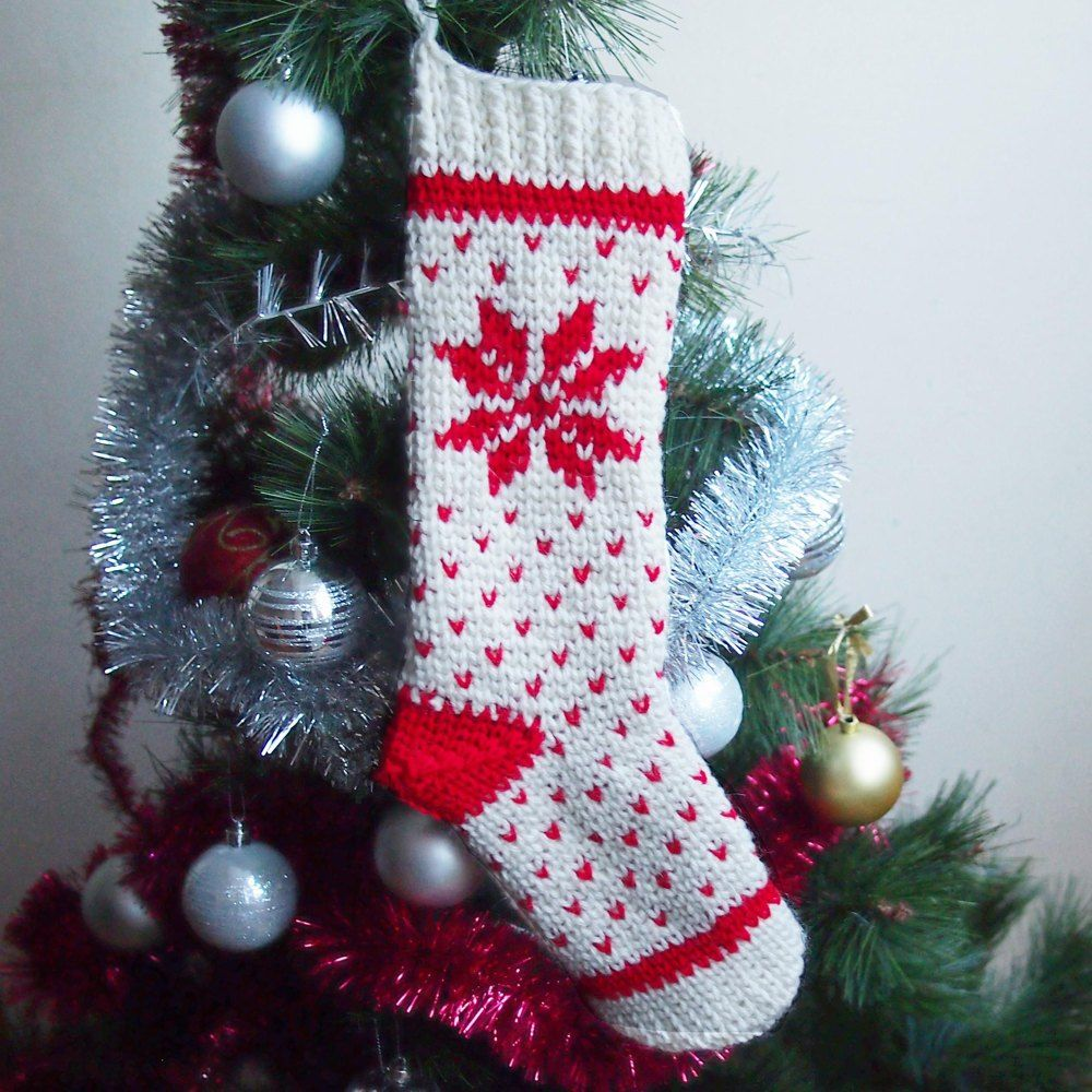 Fair isle Christmas stocking is with classic Nordic knit look! It ...