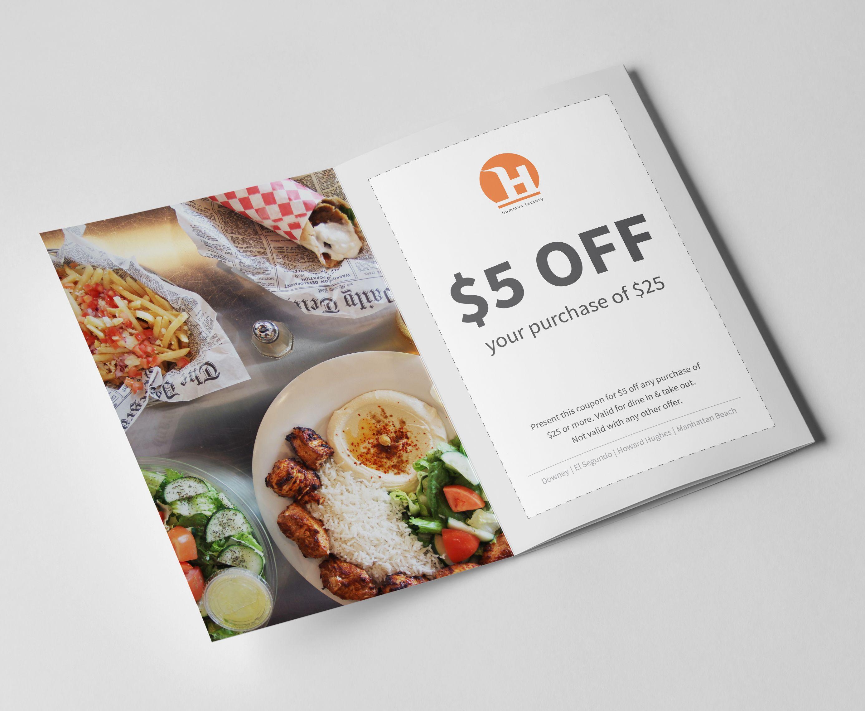 Mini Promo Brochure Coupons In 2020 Hummus Factory Web Design Hummus