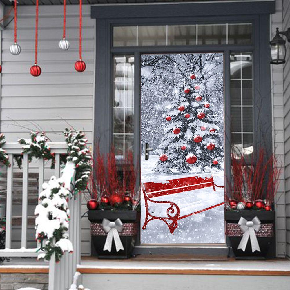 Creative Diy 3d Door Stickers Christmas Tree Pattern For