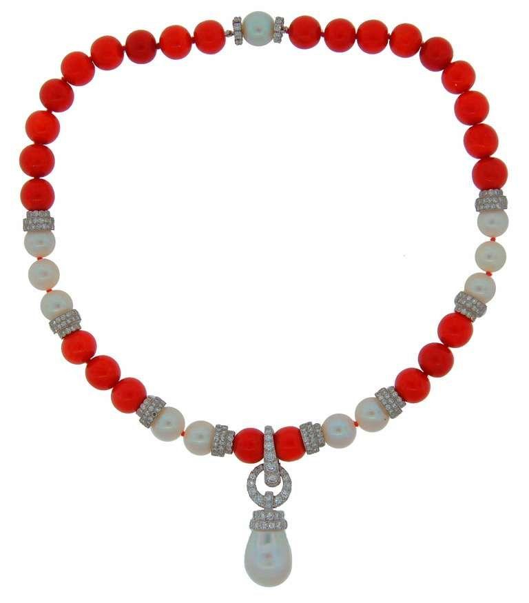 1980s David Webb Pearl Coral Diamond Platinum Detachable Necklace