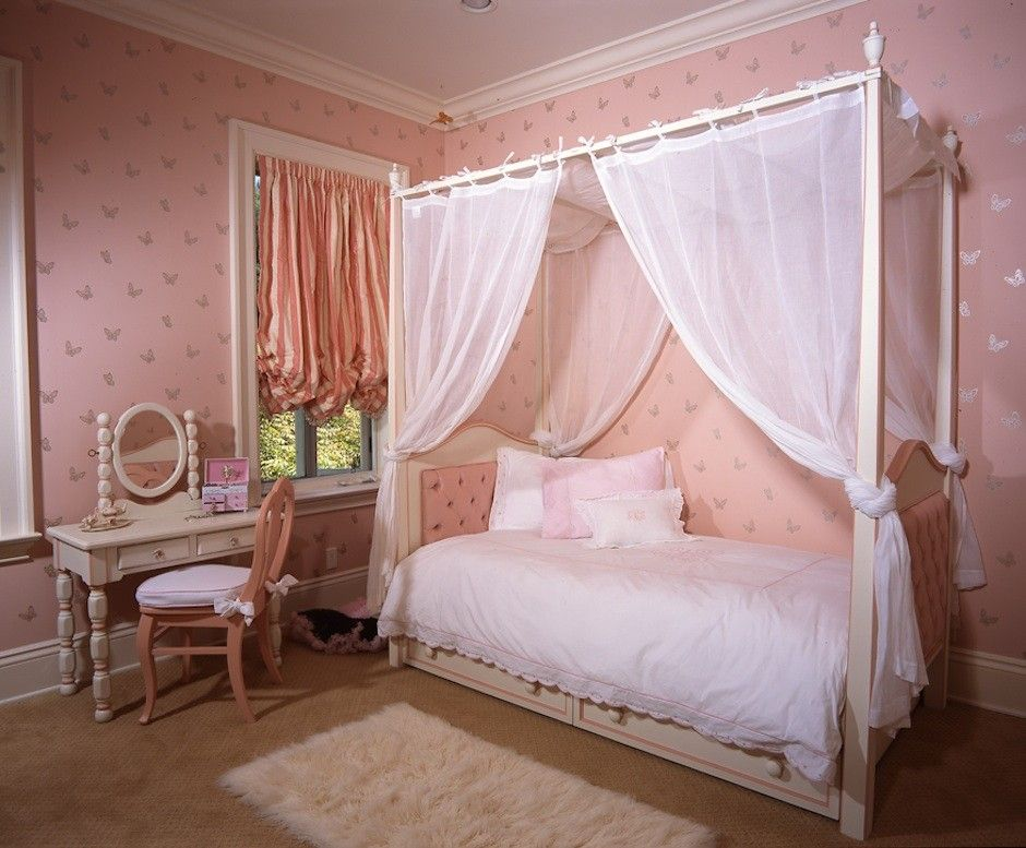Image Of Curtains Twin Canopy Beds For Girls