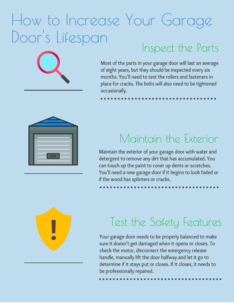 How To Increase Your Garage Door S Lifespan Infographic Garage Doors Garage Door Design Doors