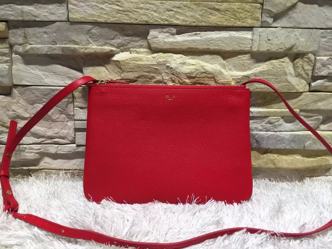 Celine Trio Crossbody Small Bag In Red Clemence Calfskin  smalldesignerpurse 2570c18d1e839
