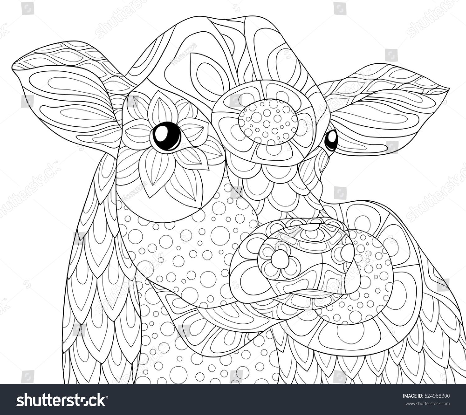 Adult coloring page cow zen art style illustration