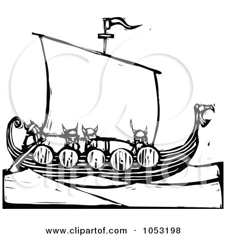 Royalty Free Vector Clipart Illustration Of A Black And White Woodcut Styled Viking Ship By Xunantunich Black And White Woodcut Vikings