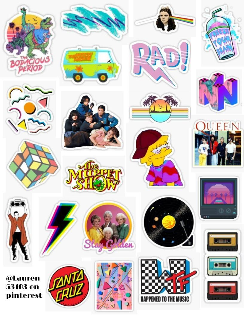80 S Sticker Pack 2 Sticker By Lauren53103 Cool Stickers Hydroflask Stickers Iphone Case Stickers