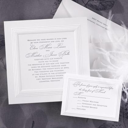 Classic White Borders Wedding Invitations by Invitation Duck