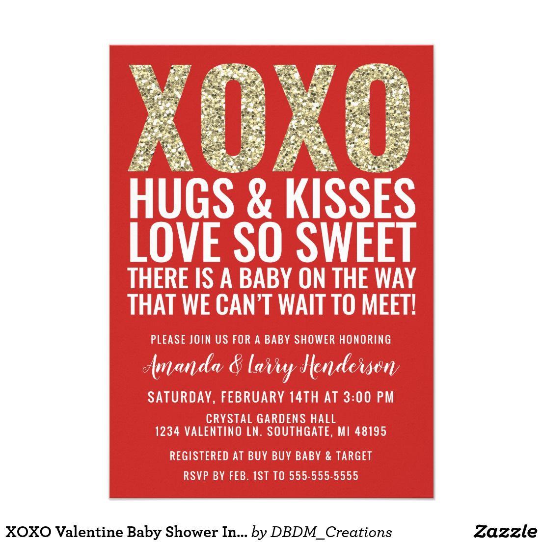 XOXO Valentine Baby Shower Invitation | Shower invitations