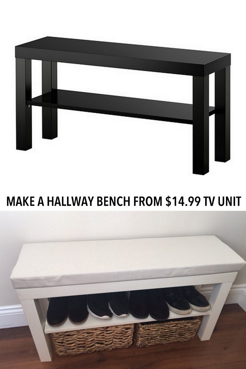 turn a £7 lack tv unit into a hallway bench | ikea ideas | pinterest