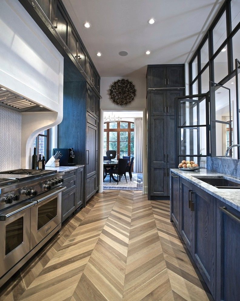 blue stained oak cabs*, chevron wood floor**, window wall *the