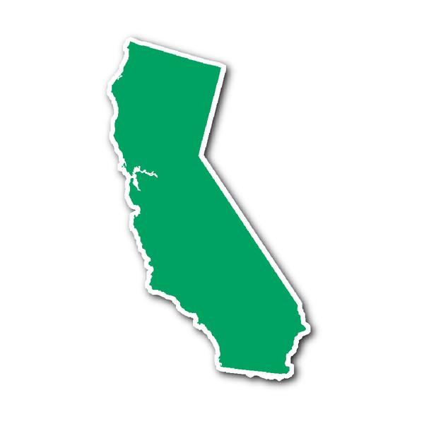 California State Shape Sticker Outline Green State Shapes California State California