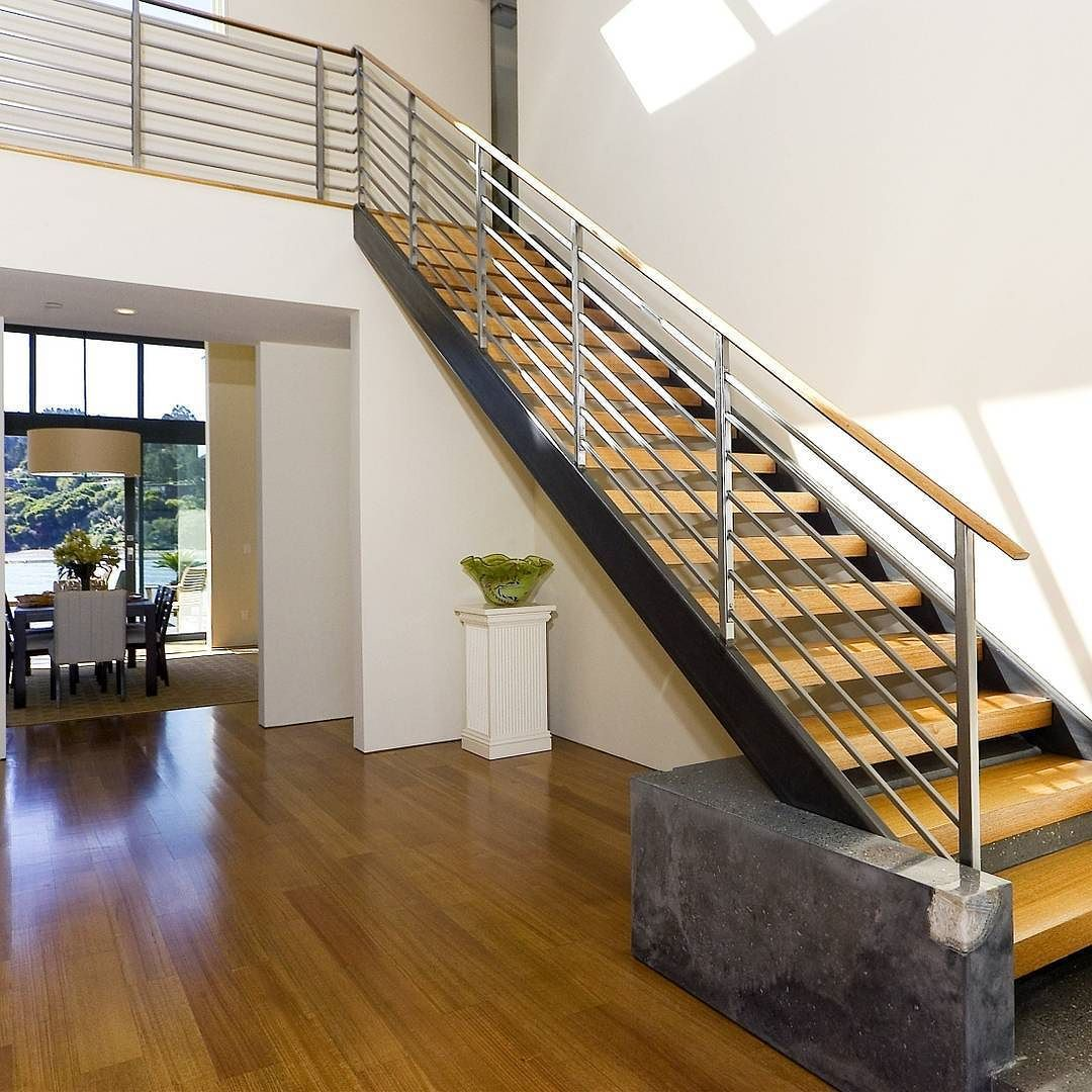 Hardwood Floors Worthy Of Tom Cruise In Risky Business Style Sliding Always Gets A Thumbs Up From Us Contemporary Stairs Contemporary Kitchen Island Stairs