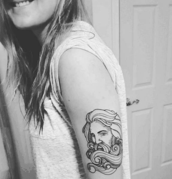 Nautical Tattoo Poseidon And Ship: Poseidon Tattoo #inked #tattoo #womenwithtattoos #waves