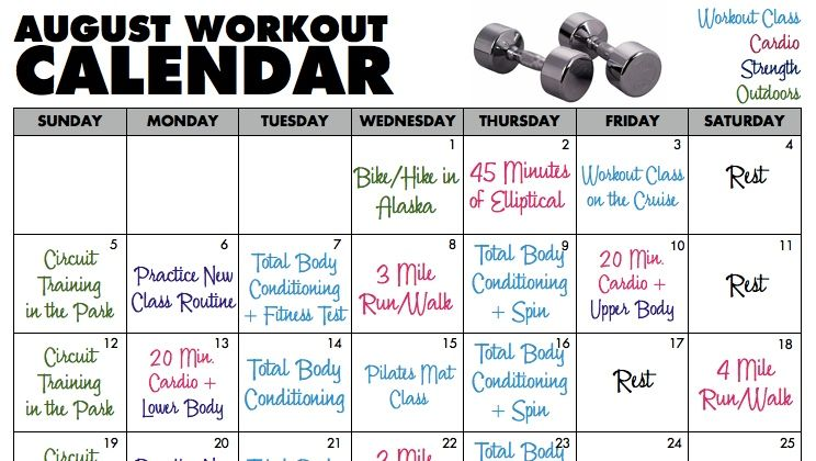 Your August Workout Challenge Fill Out This Calendar ReadyGO