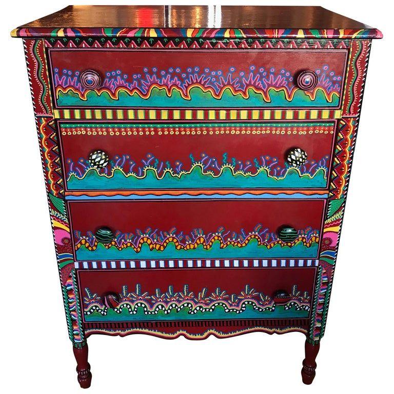 Hand Painted Postmodern Memphis Style Dresser In 2019