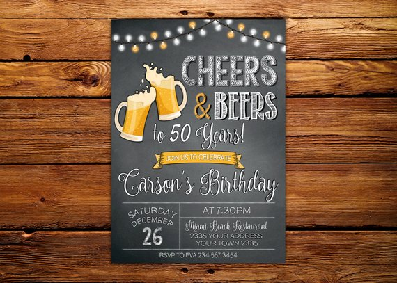 Cheers And Beers Invitation Beer Party Male Birthday Chalkboard 50th Birt