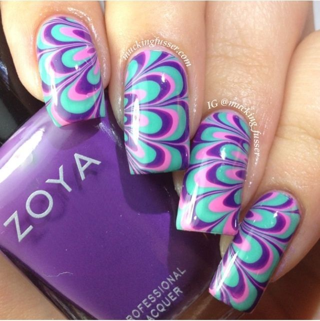 Water marble nail design20 nails pinterest teen nail art image via swirly peppermint water marble nail art christmas nails image via how to make a purple nail art on the water image via cool water marble nails prinsesfo Images