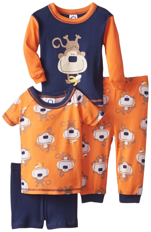 Gerber Baby Boys Infant 4 Piece Cotton Pajamas Monkeys Blue 18