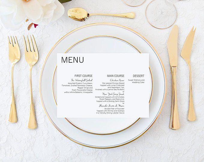 beautiful modern wedding menu cards with a minimalist