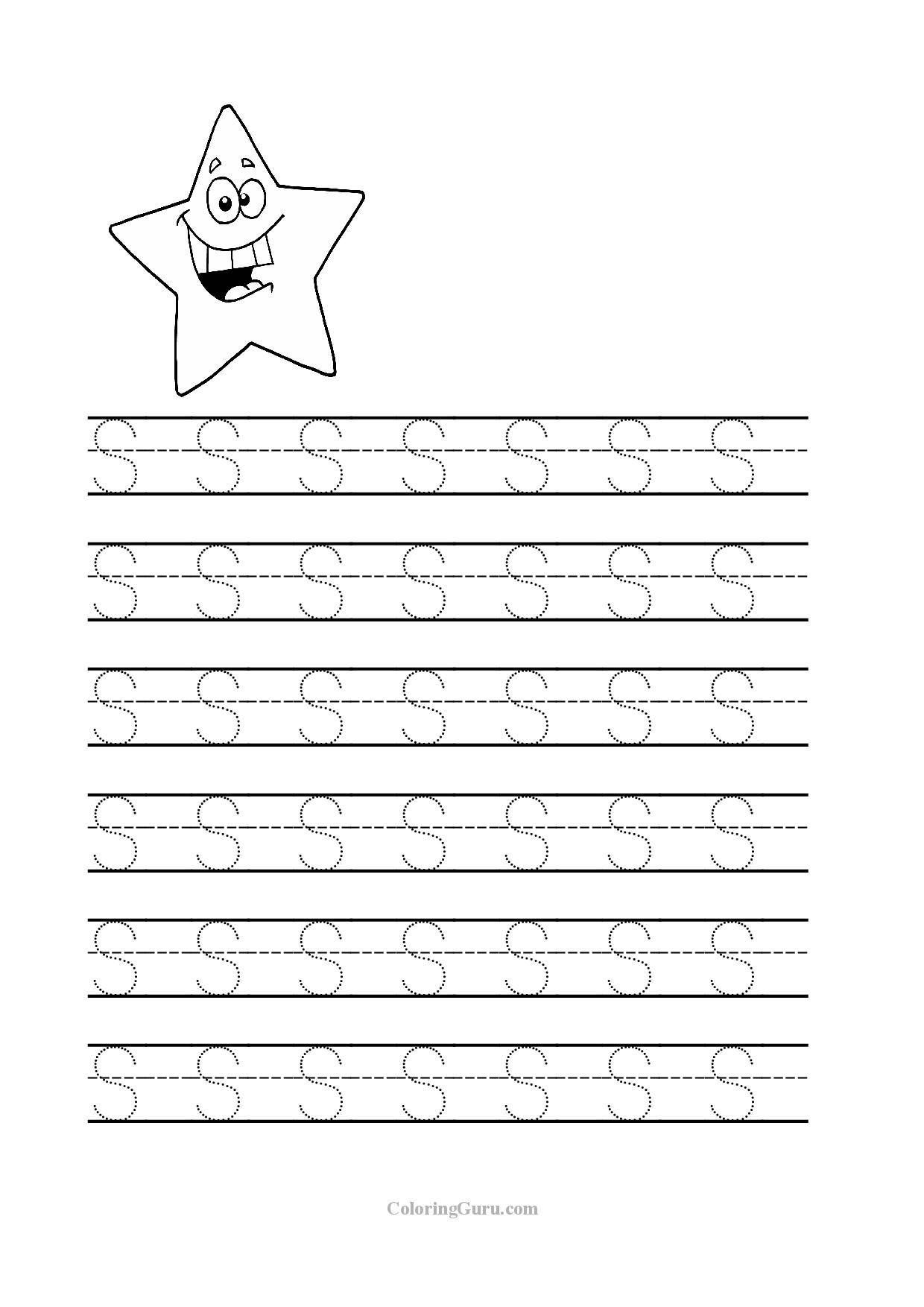 Free Printable Tracing letter S worksheets for preschool | Coloring ...