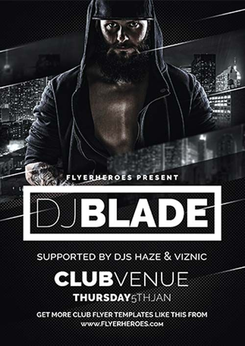 Blade DJ Free Flyer Template - http\/\/freepsdflyer\/blade-dj - black and white flyer template