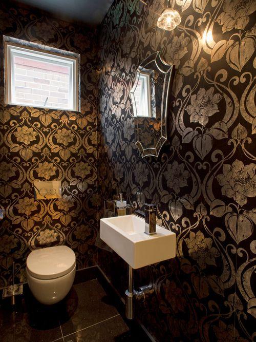 Best Black Gold Powder Room Design Ideas Remodel Pictures Houzz