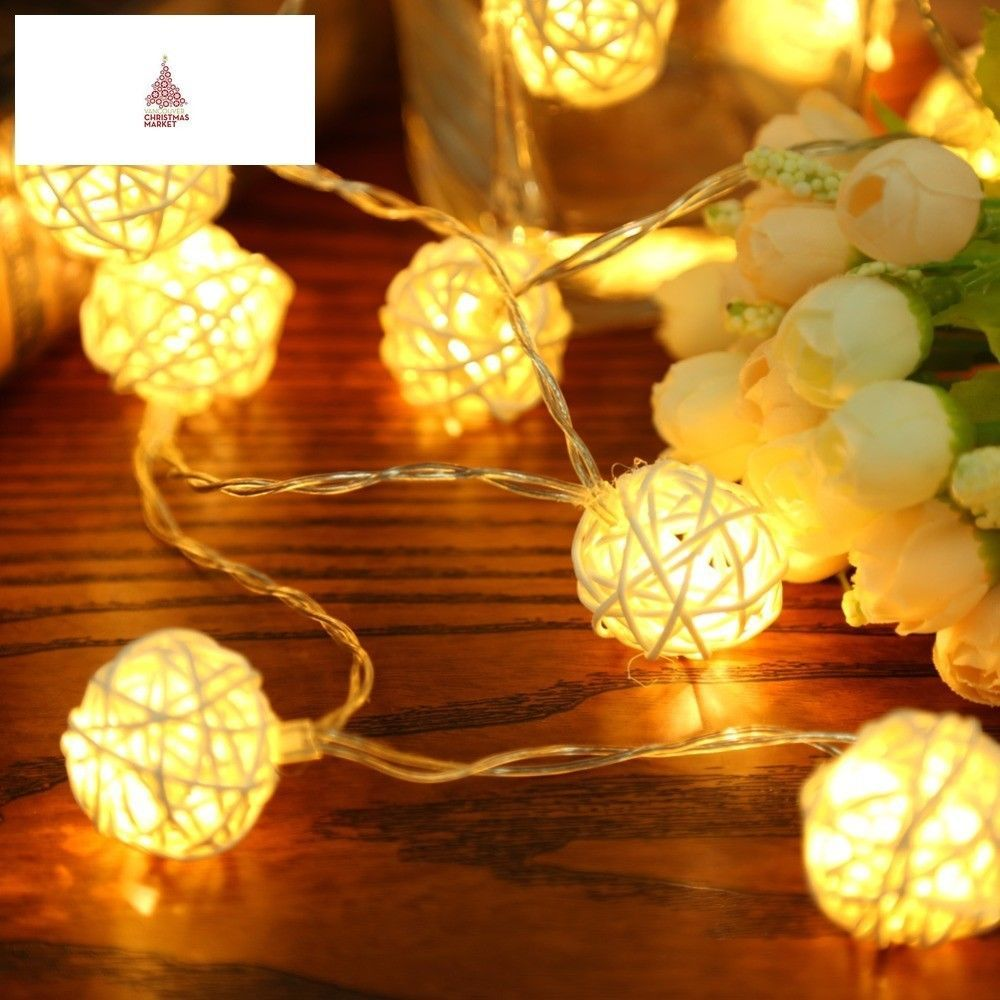 2m 20 led white warm white ac110v 125v rattan ball led string christmas lights ebay