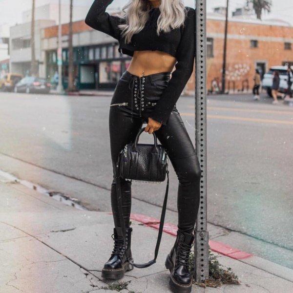 Jadon 8 Eye Boots #leatherpantsoutfit