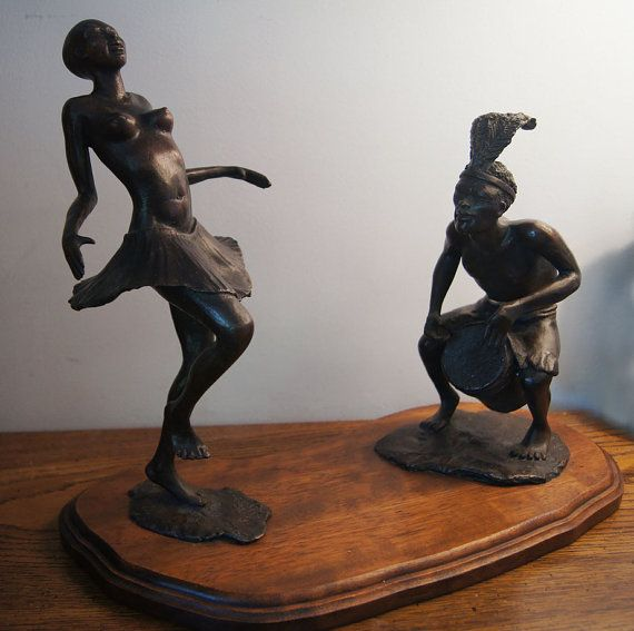 Dancing African woman and drummer bronze sculpture by by ArtNotch, $1500.00