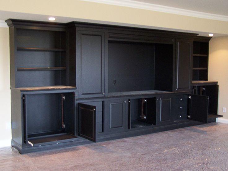 Black built in entertainment center built in for Media center built in ideas