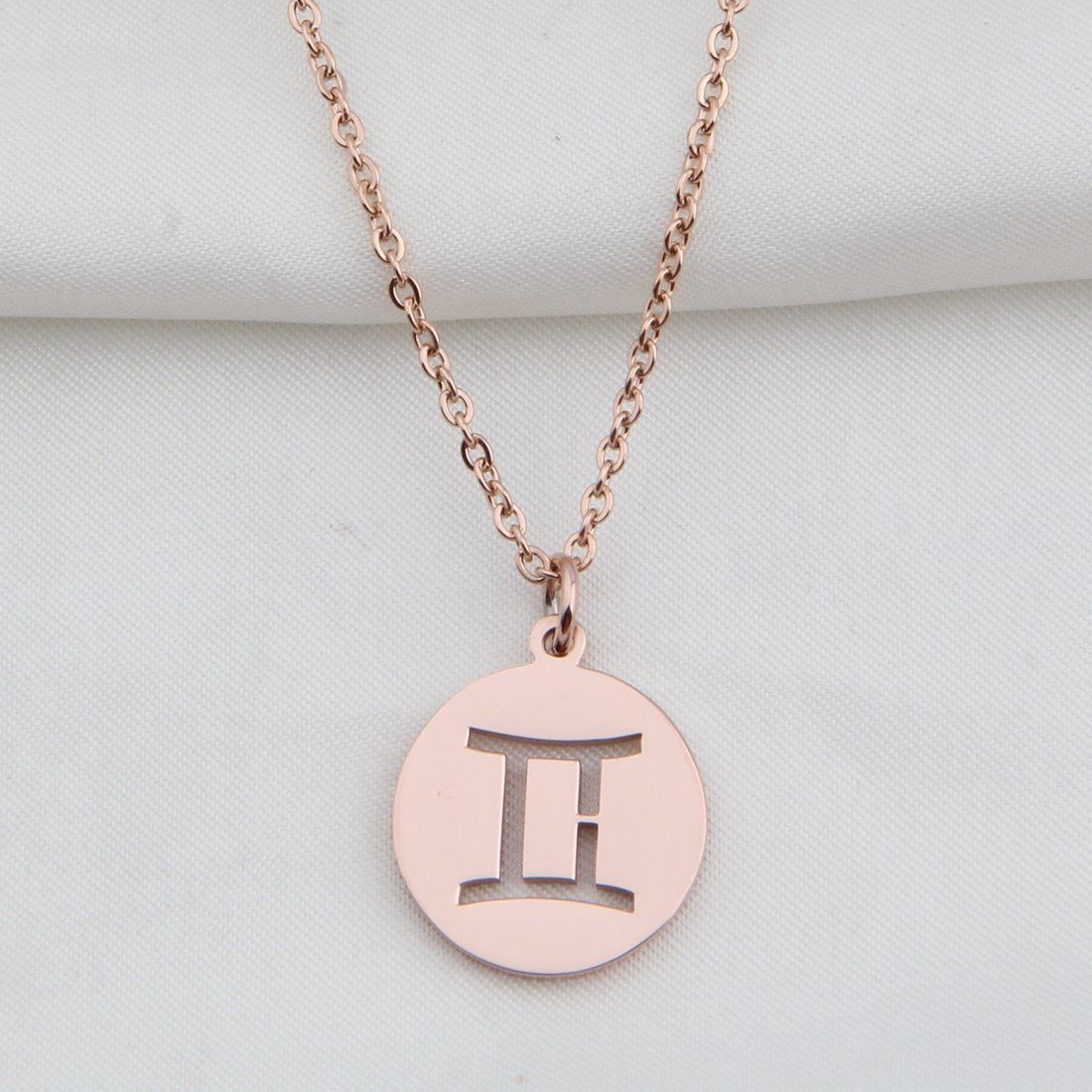 Zodiac pendant necklace rose gold disc horoscope necklace birthday