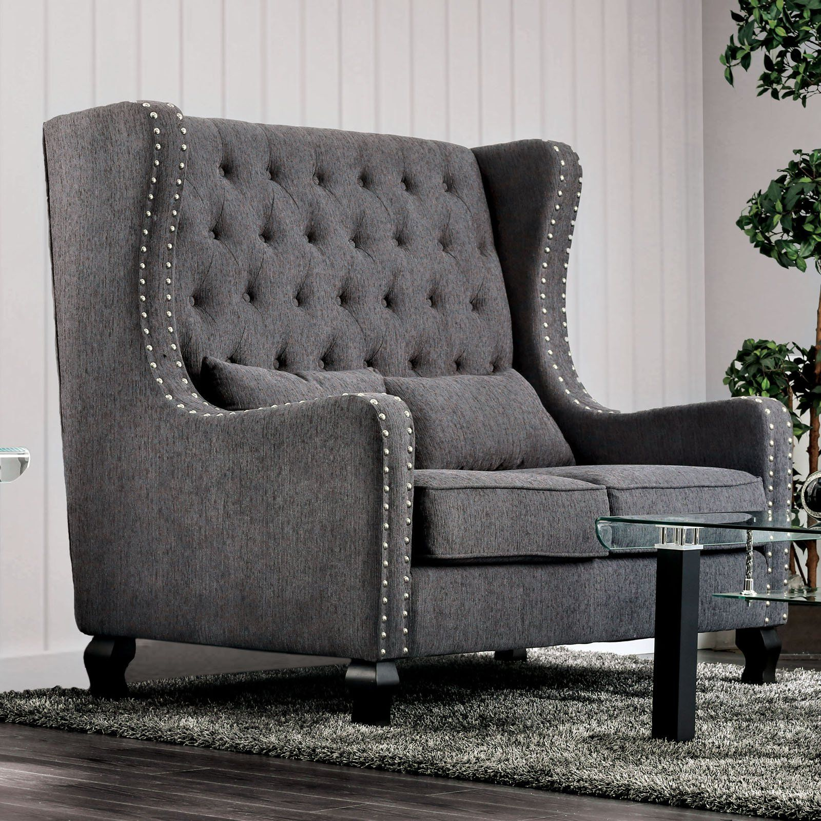 Incredible Furniture Of America Melony Wing Back Loveseat Gray In 2019 Ibusinesslaw Wood Chair Design Ideas Ibusinesslaworg