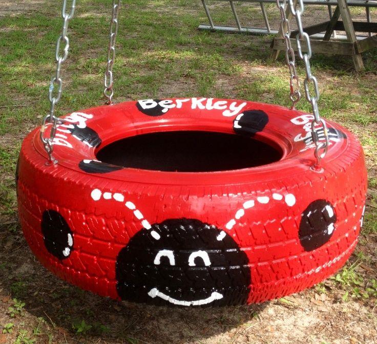 ladybug tire swing Lady bug tire