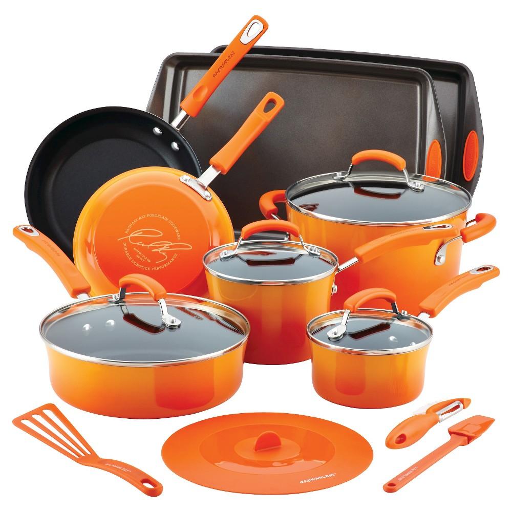 Rachael Ray Hard Enamel Nonstick 16 Pc Cookware Set Orange