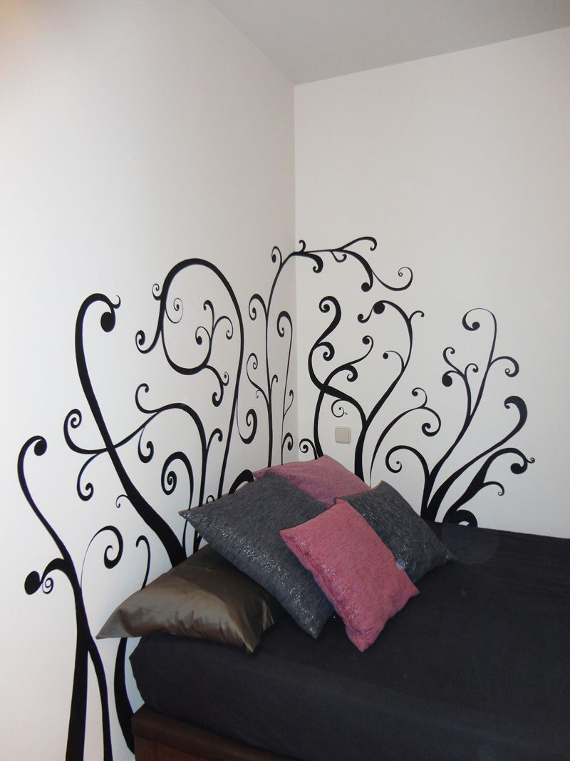 cabeceros de cama pintados en la pared buscar con google