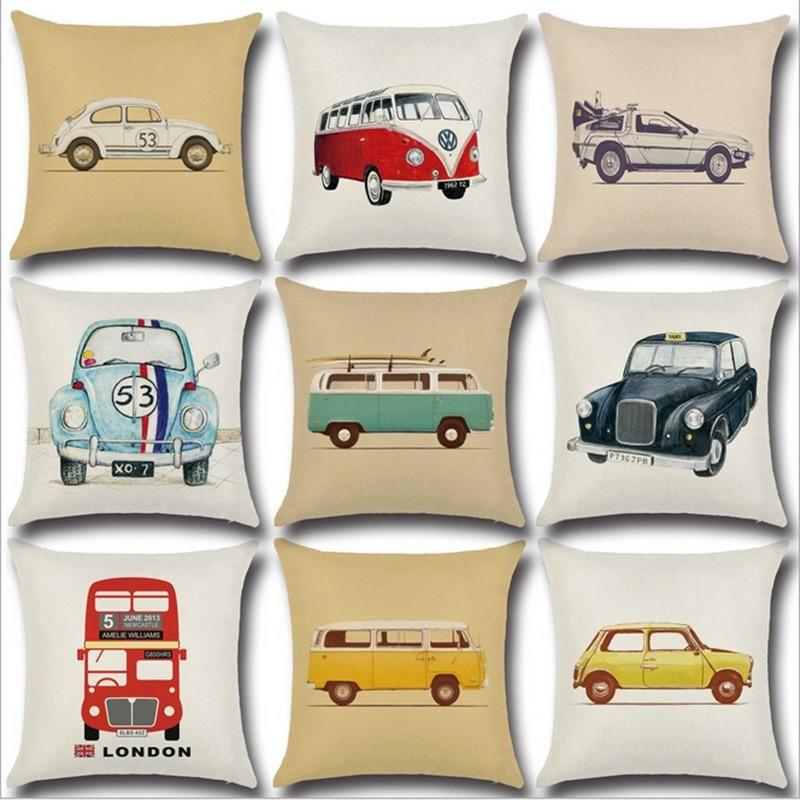 Vintage Car Pillow Cover Decorative Throw Pillow Cover Linen