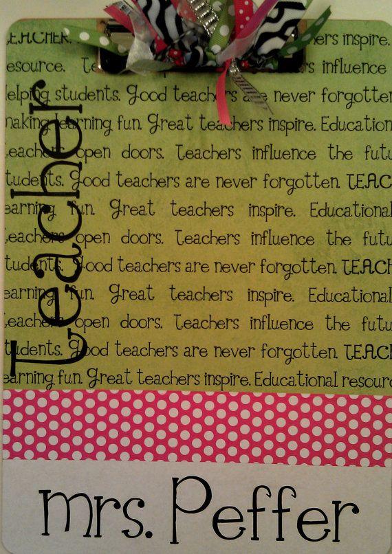 Teacher Clipboard by Slimdigm on Etsy, $21.00