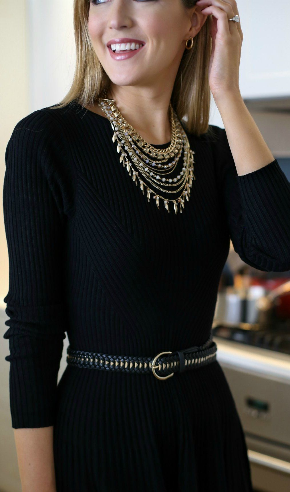 How To Dress Up A Simple Little Black Dress For The Holidays Layered Gold Dainty Statement Necklace Gold Blac Fashion Black Dresses Classy Knit Skater Dress [ 1718 x 1014 Pixel ]