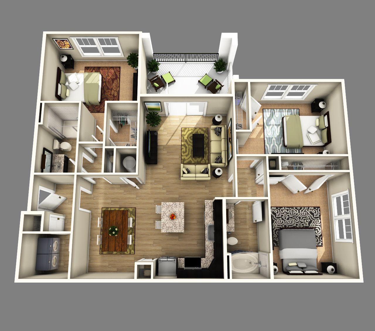 3 Bedrooms Apartments Apartment Floor Plans 3d House Plans Bedroom House Plans