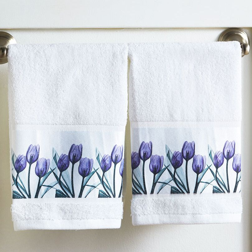 Floral Hand Towel Set Of 2 Purple Tulip Design Border Print Guest Bath Decor Lcl Hand Towels Towel Set Decorative Hand Towels