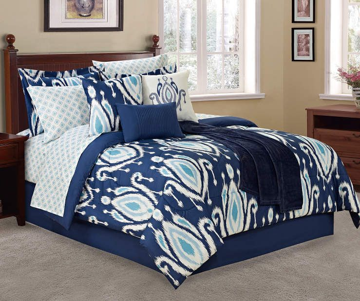 I Found A Living Colors Navy Ikat Teardrop 12 Piece Comforter Sets At Big Lots For Less Find More At Biglots Com Comforter Sets Comforters Blue White Decor