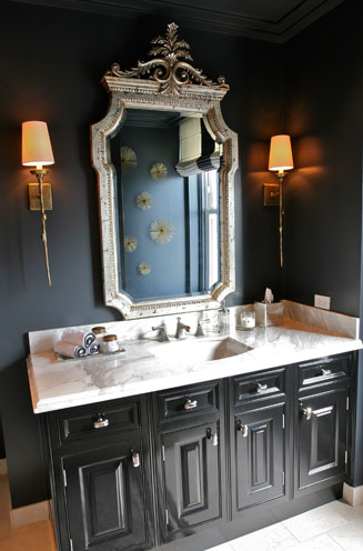 The Awesome Web Elegant bathroom with black walls paint color silver ornate mirror glossy black lacquer bathroom vanity with marble countertop and single brass sconces
