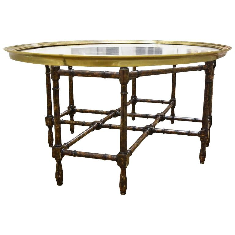 Vintage Gold Faux Bamboo Side Table Mid Century Glass Top Accent