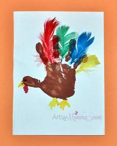 Turkey Crafts for Preschoolers: Feather Counting Activity & Handprint Art #handprintturkey