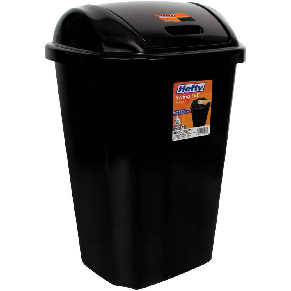 Kitchen Trash Can 13 5 Gallon Plastic Waste Basket Swing Lid Garbage Bin Black Hefty Trash Can Kitchen Trash Cans Recycled Kitchen