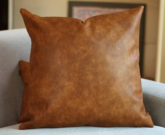 Cognac Brown Faux Leather Throw Pillow Cover Tan Pillow Cover Decorative For Couch Boho Throw